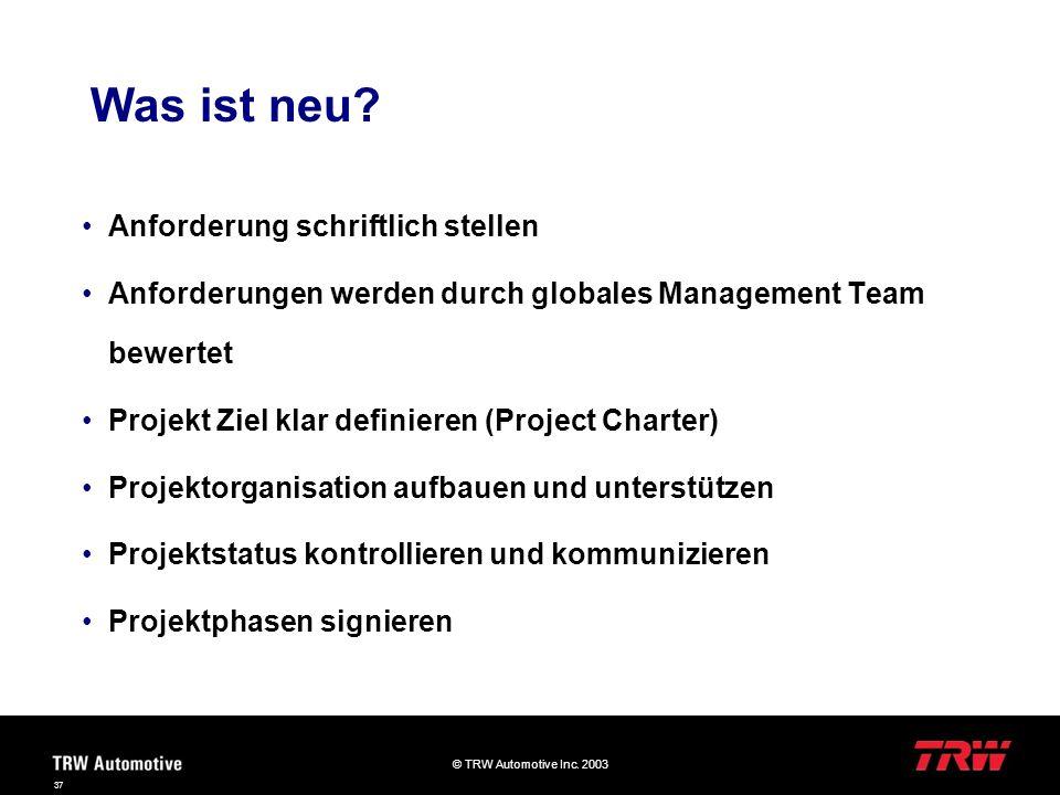© TRW Automotive Inc. 2003 37 Was ist neu? Anforderung schriftlich stellen Anforderungen werden durch globales Management Team bewertet Projekt Ziel k