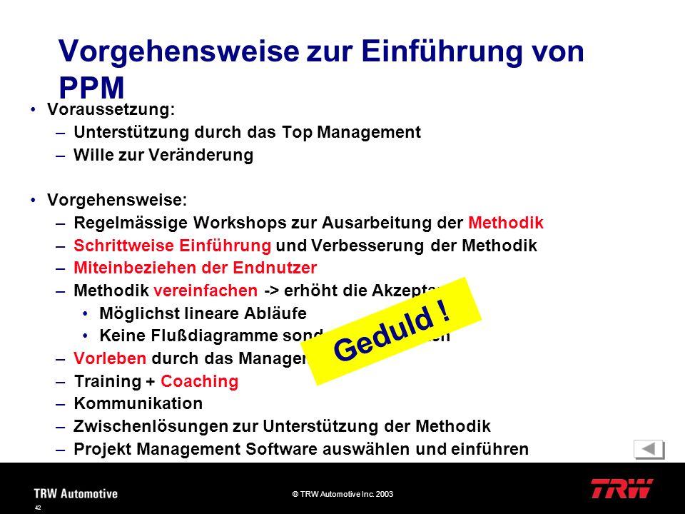 © TRW Automotive Inc. 2003 42 Voraussetzung: –Unterstützung durch das Top Management –Wille zur Veränderung Vorgehensweise: –Regelmässige Workshops zu