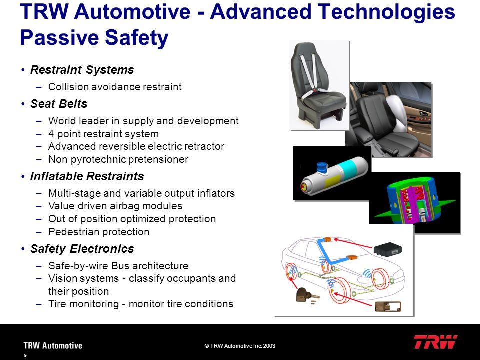 © TRW Automotive Inc. 2003 9 TRW Automotive - Advanced Technologies Passive Safety Restraint Systems –Collision avoidance restraint Seat Belts –World