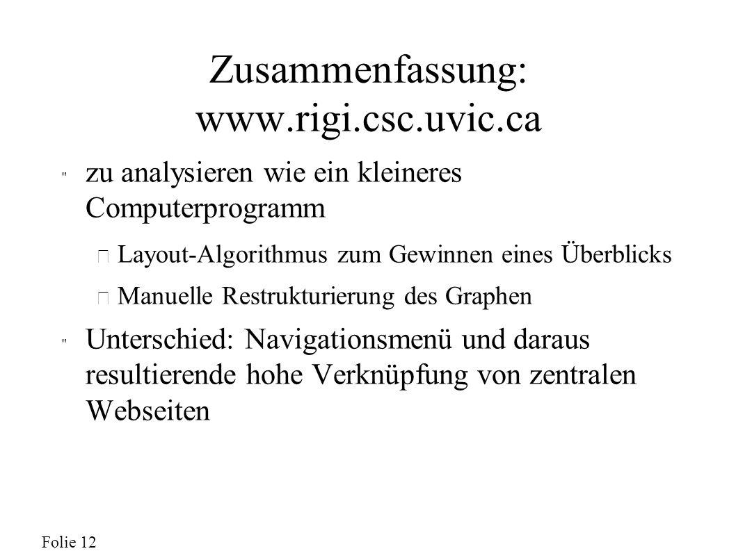 Folie 12 Zusammenfassung: www.rigi.csc.uvic.ca zu analysieren wie ein kleineres Computerprogramm – Layout-Algorithmus zum Gewinnen eines Überblicks – Manuelle Restrukturierung des Graphen Unterschied: Navigationsmenü und daraus resultierende hohe Verknüpfung von zentralen Webseiten