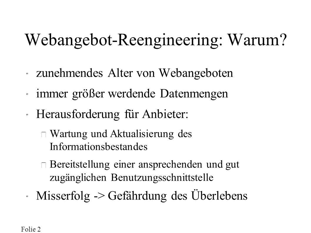 Folie 2 Webangebot-Reengineering: Warum.