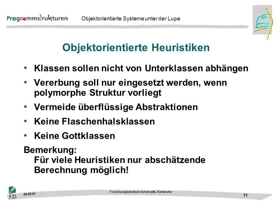 08.05.01 Forschungszentrum Informatik, Karlsruhe 11 Objektorientierte Systeme unter der Lupe Objektorientierte Heuristiken Klassen sollen nicht von Un
