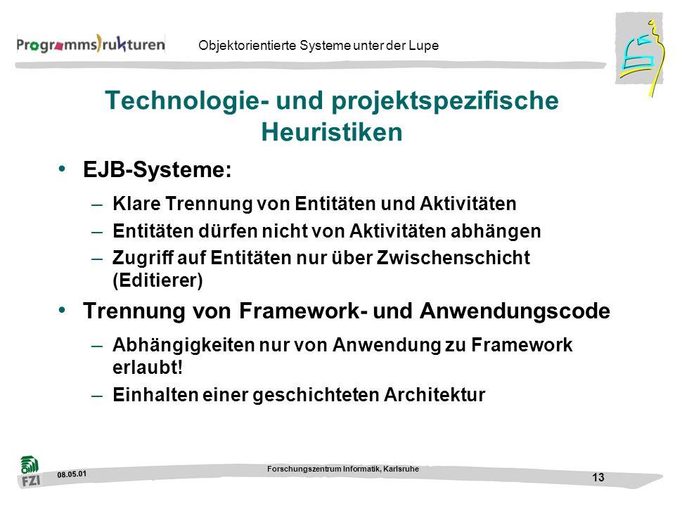 08.05.01 Forschungszentrum Informatik, Karlsruhe 13 Objektorientierte Systeme unter der Lupe Technologie- und projektspezifische Heuristiken EJB-Syste