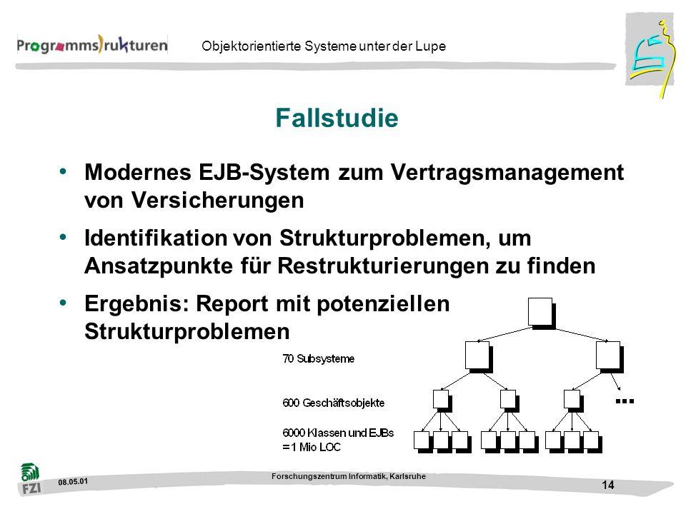 08.05.01 Forschungszentrum Informatik, Karlsruhe 14 Objektorientierte Systeme unter der Lupe Fallstudie Modernes EJB-System zum Vertragsmanagement von