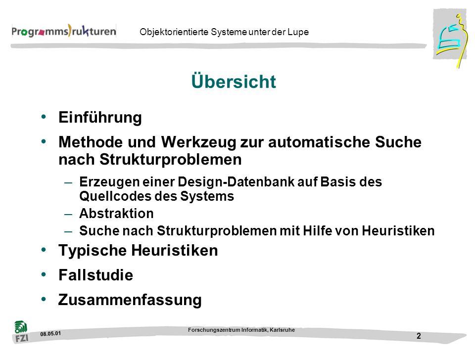 08.05.01 Forschungszentrum Informatik, Karlsruhe 2 Objektorientierte Systeme unter der Lupe Übersicht Einführung Methode und Werkzeug zur automatische