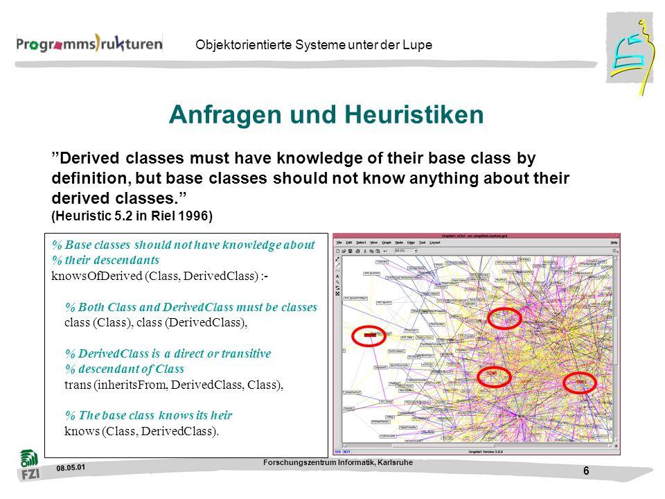 08.05.01 Forschungszentrum Informatik, Karlsruhe 7 Objektorientierte Systeme unter der Lupe Ein CORBA-System...