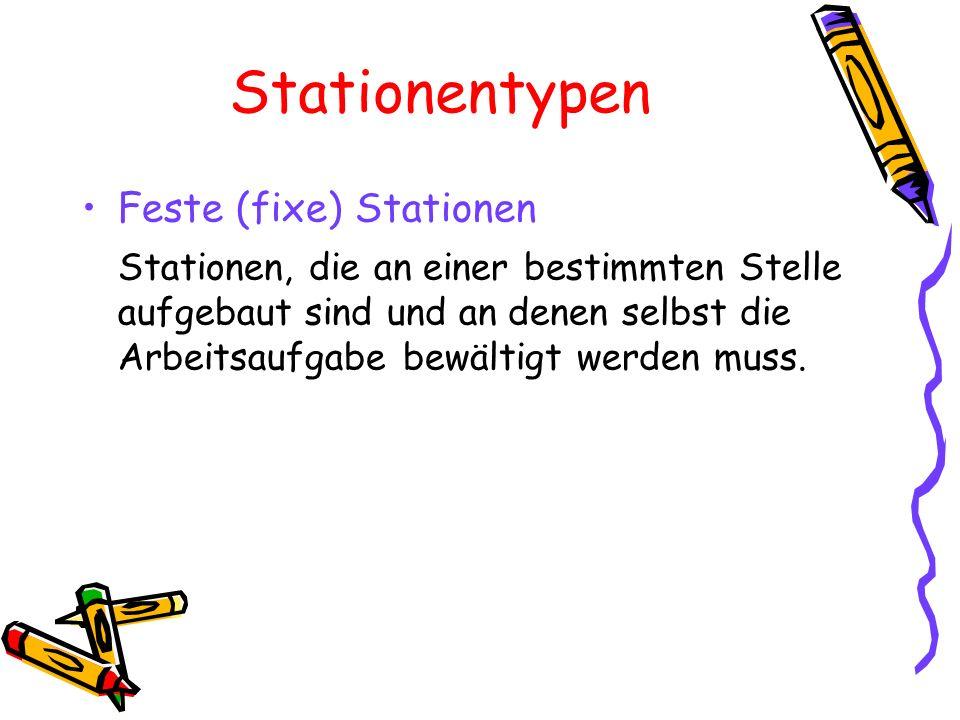 Stationentypen Feste (fixe) Stationen Stationen, die an einer bestimmten Stelle aufgebaut sind und an denen selbst die Arbeitsaufgabe bewältigt werden