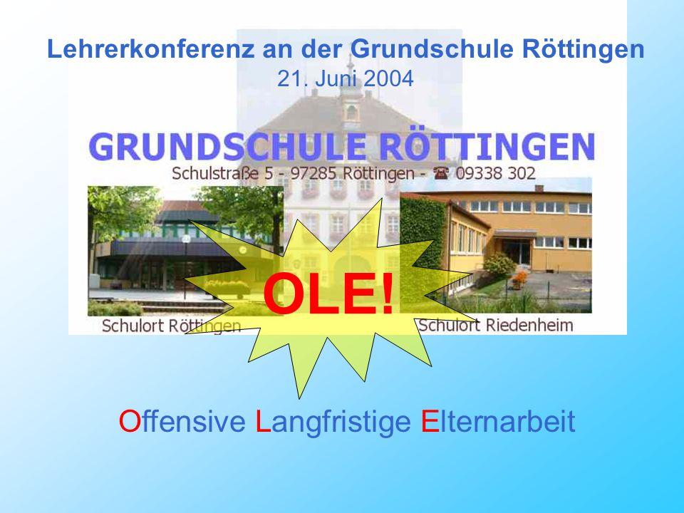 Lehrerkonferenz an der Grundschule Röttingen 21. Juni 2004 Offensive Langfristige Elternarbeit OLE!