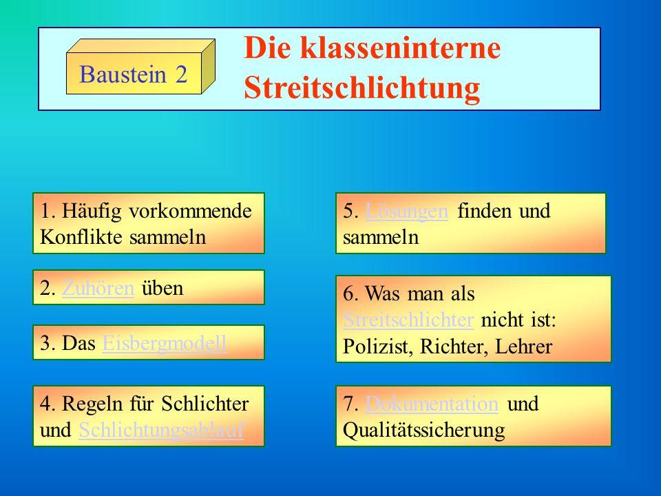 Baustein 2 Die klasseninterne Streitschlichtung 1.