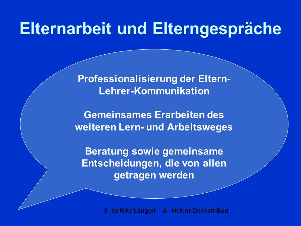 © by Rike Langolf & Helene Deckert-Bau Elternarbeit und Elterngespräche Professionalisierung der Eltern- Lehrer-Kommunikation Gemeinsames Erarbeiten d