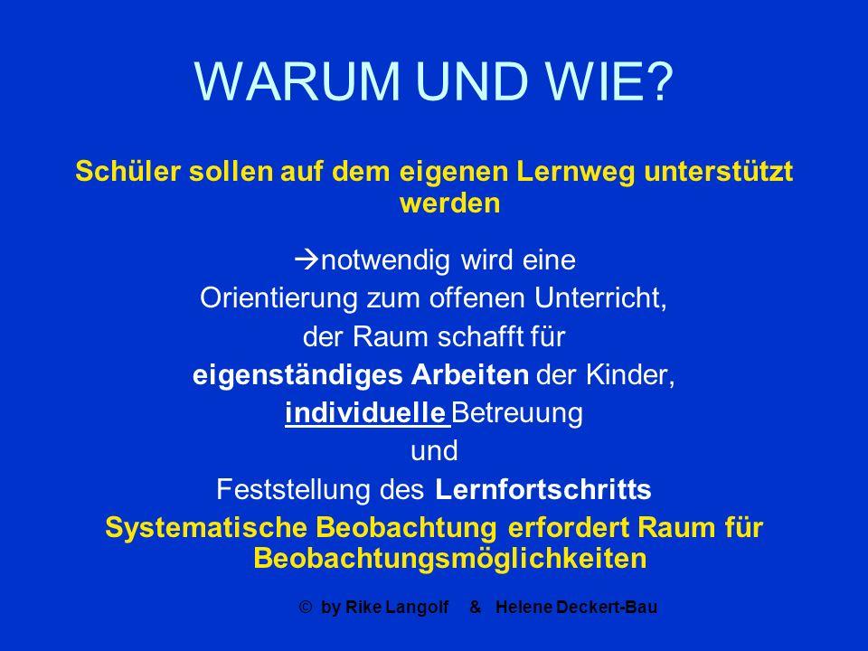 © by Rike Langolf & Helene Deckert-Bau WARUM UND WIE? Schüler sollen auf dem eigenen Lernweg unterstützt werden notwendig wird eine Orientierung zum o