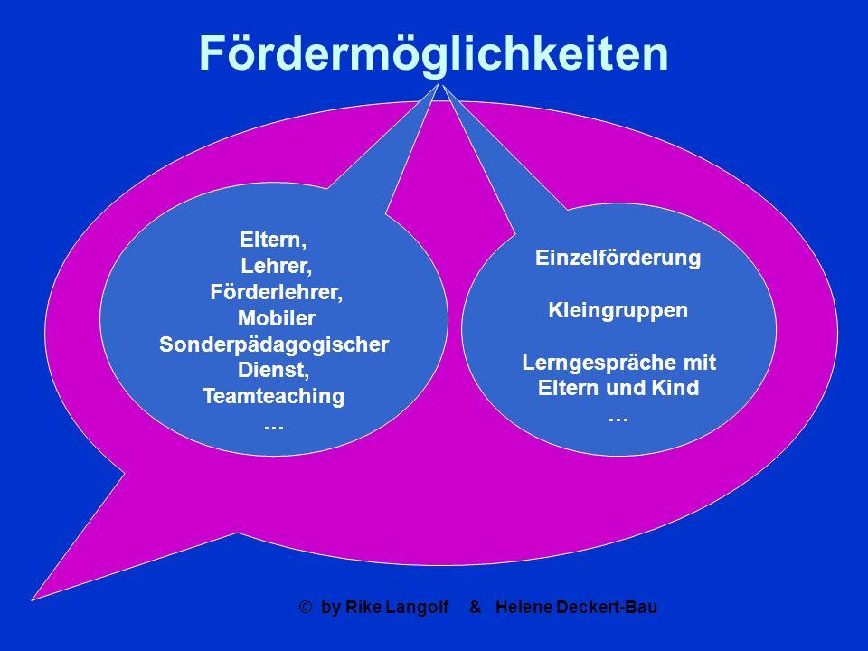 © by Rike Langolf & Helene Deckert-Bau Fördermöglichkeiten Eltern, Lehrer, Förderlehrer, Mobiler Sonderpädagogischer Dienst, Teamteaching … Einzelförd
