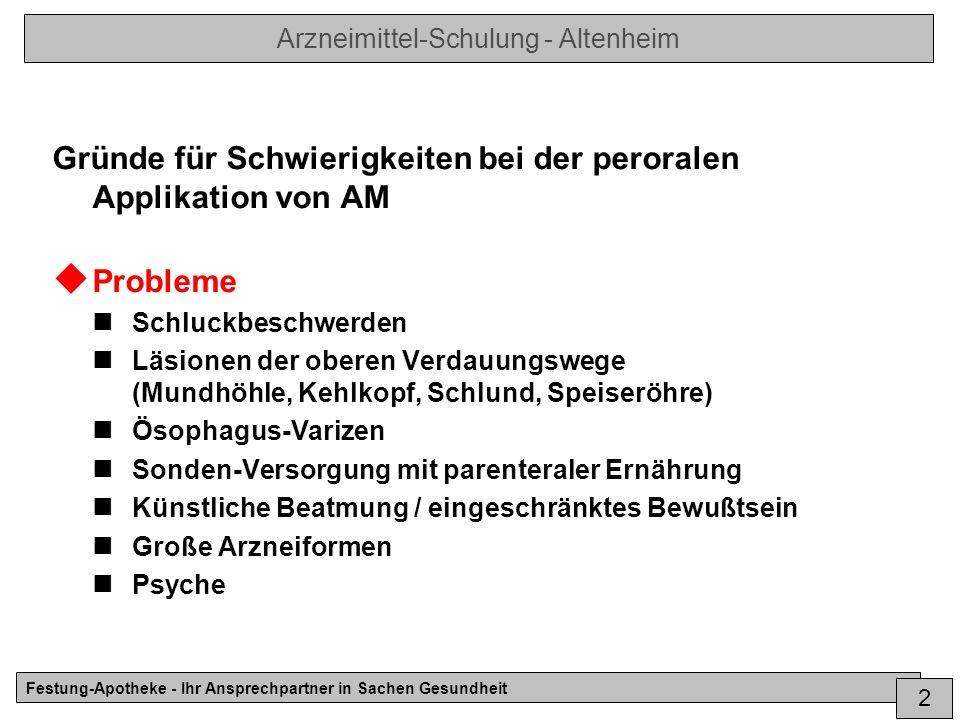 Arzneimittel-Schulung - Altenheim Festung-Apotheke - Ihr Ansprechpartner in Sachen Gesundheit 3 Lösungen bei Problemen Unproblematische Maßnahmen (falls möglich) Optimal.