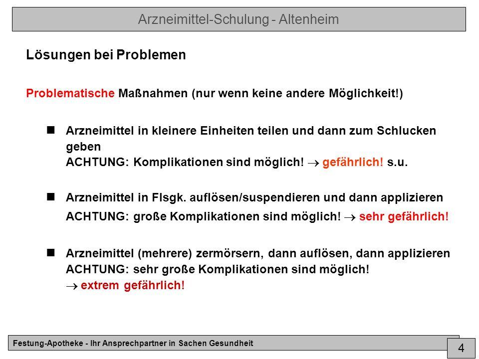 Arzneimittel-Schulung - Altenheim Festung-Apotheke - Ihr Ansprechpartner in Sachen Gesundheit 5 Konkretes Vorgehen bei Problemen der peroralen Applikation Niemals.