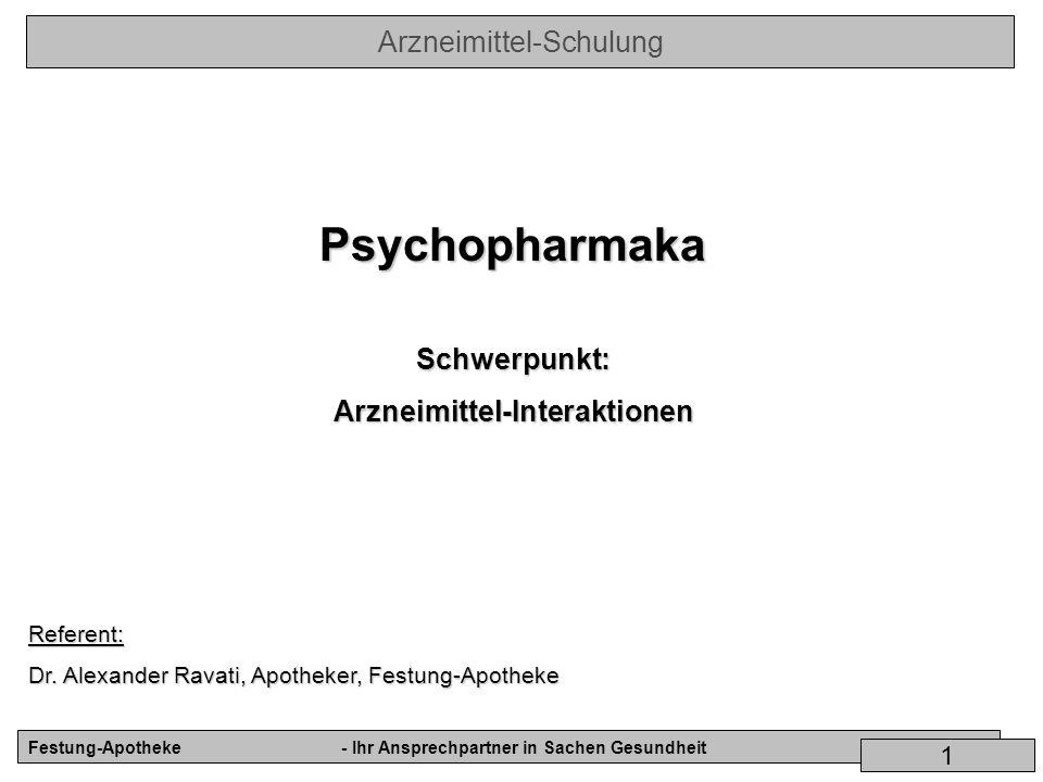 Arzneimittel-Schulung Festung-Apotheke- Ihr Ansprechpartner in Sachen Gesundheit 1 PsychopharmakaSchwerpunkt:Arzneimittel-InteraktionenReferent: Dr. A