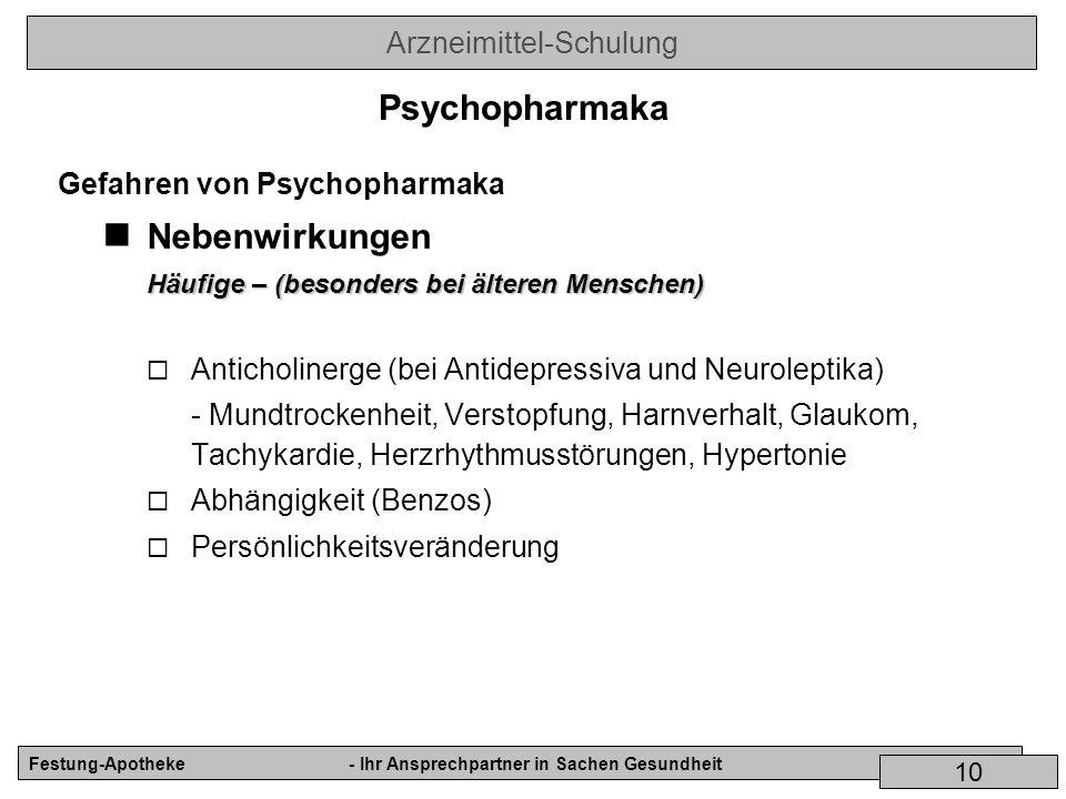 Arzneimittel-Schulung Festung-Apotheke- Ihr Ansprechpartner in Sachen Gesundheit 10 Gefahren von Psychopharmaka Nebenwirkungen Häufige – (besonders be