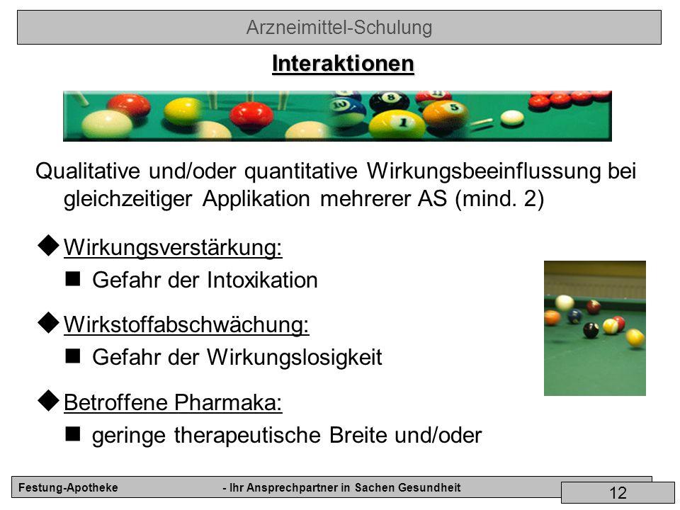 Arzneimittel-Schulung Festung-Apotheke- Ihr Ansprechpartner in Sachen Gesundheit 12 Qualitative und/oder quantitative Wirkungsbeeinflussung bei gleich