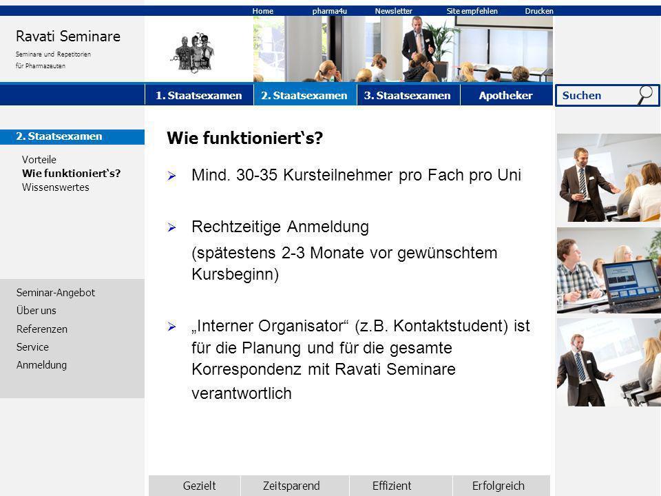 2. Staatsexamen Vorteile Wie funktionierts? Wissenswertes Seminar-Angebot Über uns Referenzen Service Anmeldung Wie funktionierts? Mind. 30-35 Kurstei