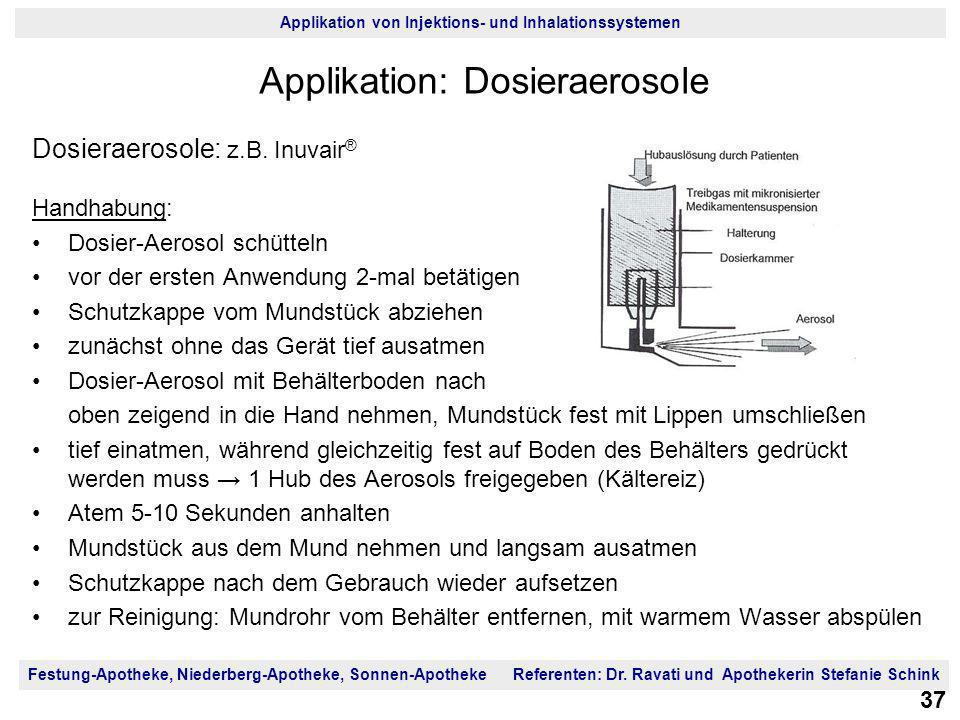 Festung-Apotheke, Niederberg-Apotheke, Sonnen-Apotheke Referenten: Dr. Ravati und Apothekerin Stefanie Schink Applikation von Injektions- und Inhalati
