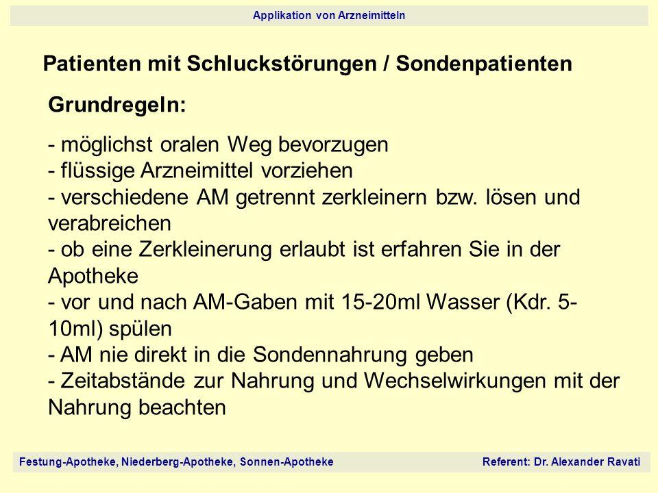Festung-Apotheke, Niederberg-Apotheke, Sonnen-Apotheke Referent: Dr. Alexander Ravati Applikation von Arzneimitteln Patienten mit Schluckstörungen / S