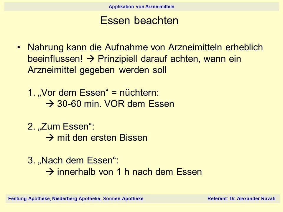 Festung-Apotheke, Niederberg-Apotheke, Sonnen-Apotheke Referent: Dr. Alexander Ravati Applikation von Arzneimitteln Essen beachten Nahrung kann die Au