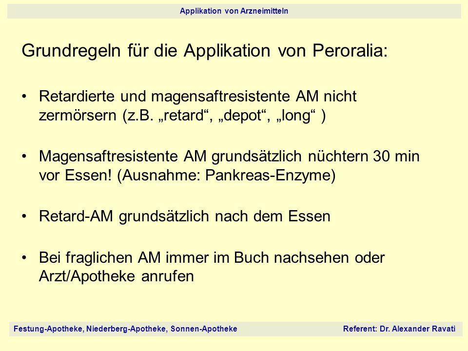 Festung-Apotheke, Niederberg-Apotheke, Sonnen-Apotheke Referent: Dr. Alexander Ravati Applikation von Arzneimitteln Grundregeln für die Applikation vo