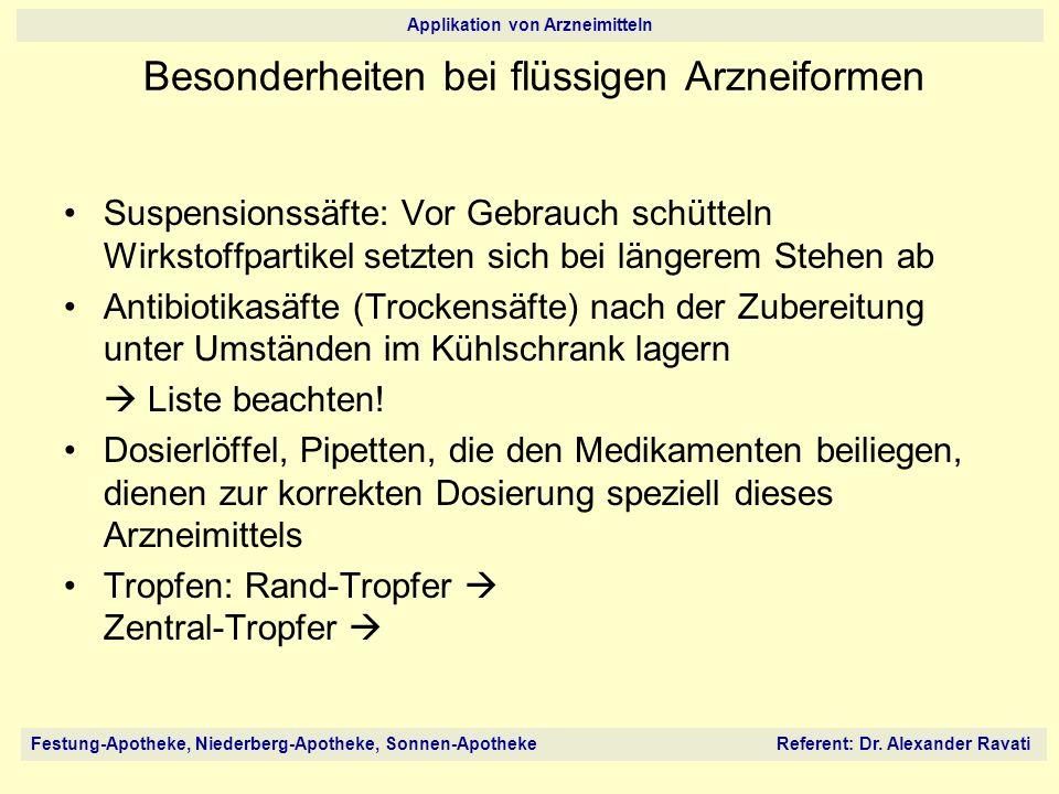 Festung-Apotheke, Niederberg-Apotheke, Sonnen-Apotheke Referent: Dr. Alexander Ravati Applikation von Arzneimitteln Suspensionssäfte: Vor Gebrauch sch