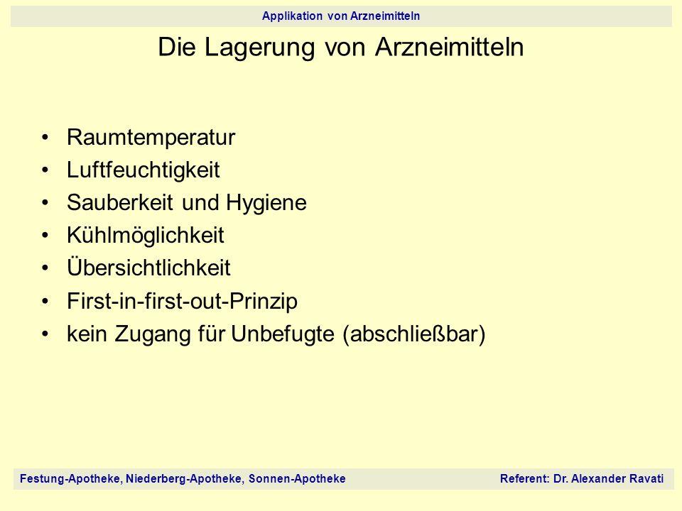 Festung-Apotheke, Niederberg-Apotheke, Sonnen-Apotheke Referent: Dr. Alexander Ravati Applikation von Arzneimitteln Die Lagerung von Arzneimitteln Rau