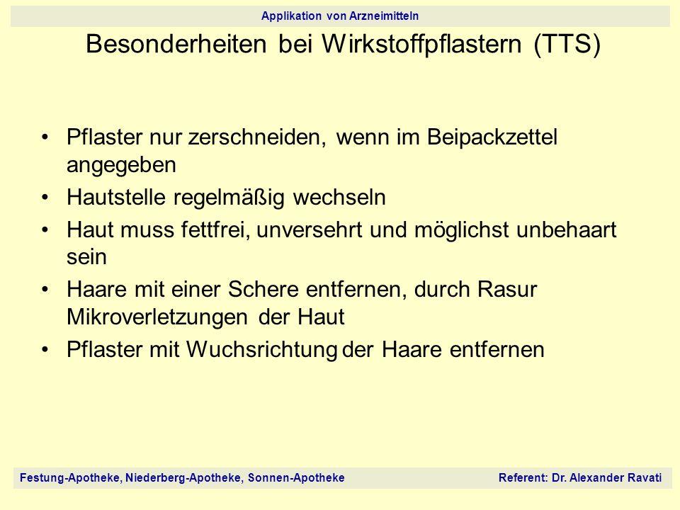 Festung-Apotheke, Niederberg-Apotheke, Sonnen-Apotheke Referent: Dr. Alexander Ravati Applikation von Arzneimitteln Pflaster nur zerschneiden, wenn im