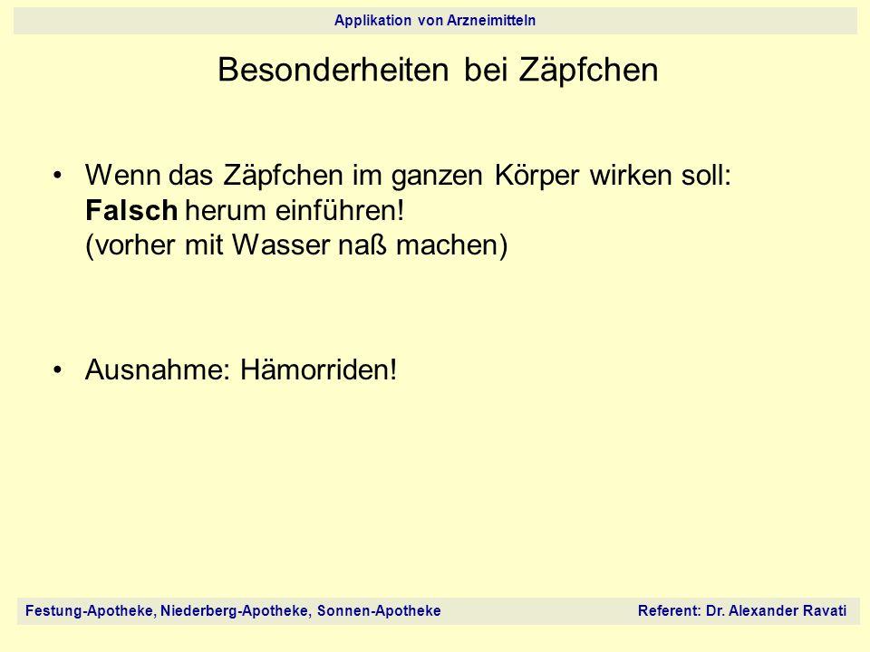 Festung-Apotheke, Niederberg-Apotheke, Sonnen-Apotheke Referent: Dr. Alexander Ravati Applikation von Arzneimitteln Wenn das Zäpfchen im ganzen Körper