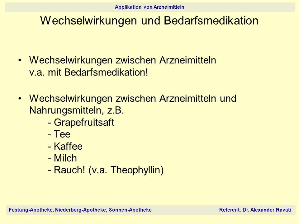 Festung-Apotheke, Niederberg-Apotheke, Sonnen-Apotheke Referent: Dr. Alexander Ravati Applikation von Arzneimitteln Wechselwirkungen und Bedarfsmedika