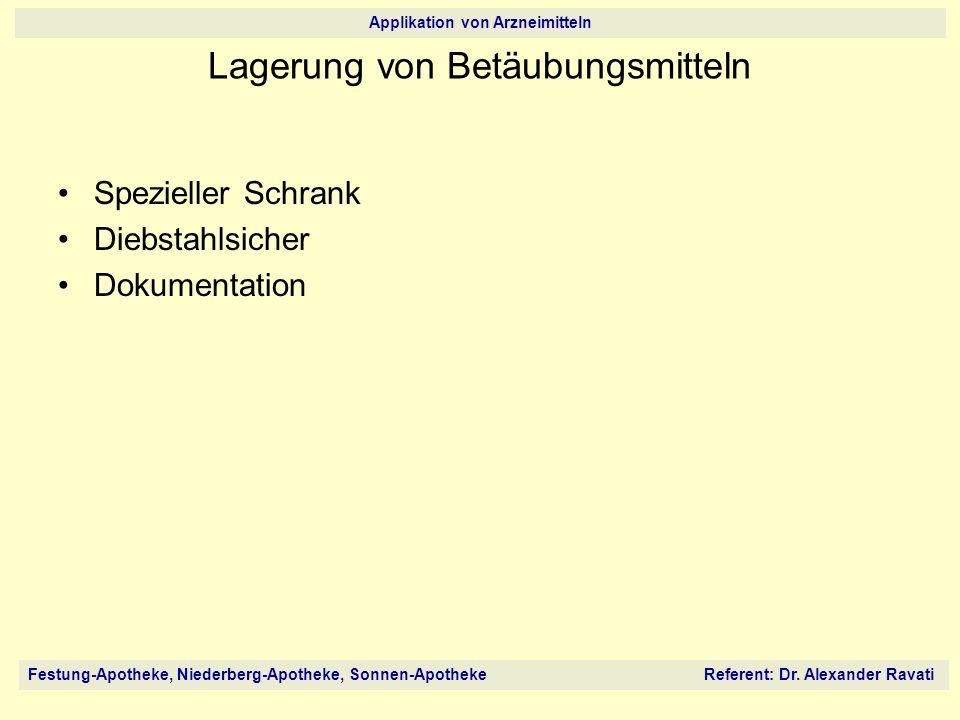 Festung-Apotheke, Niederberg-Apotheke, Sonnen-Apotheke Referent: Dr. Alexander Ravati Applikation von Arzneimitteln Spezieller Schrank Diebstahlsicher