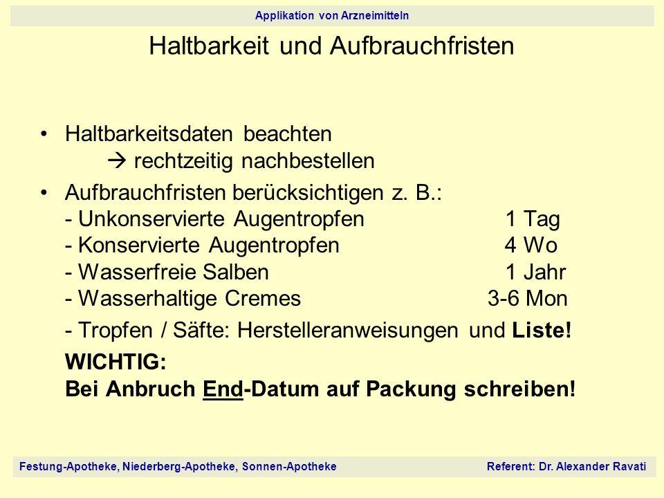 Festung-Apotheke, Niederberg-Apotheke, Sonnen-Apotheke Referent: Dr. Alexander Ravati Applikation von Arzneimitteln Haltbarkeitsdaten beachten rechtze