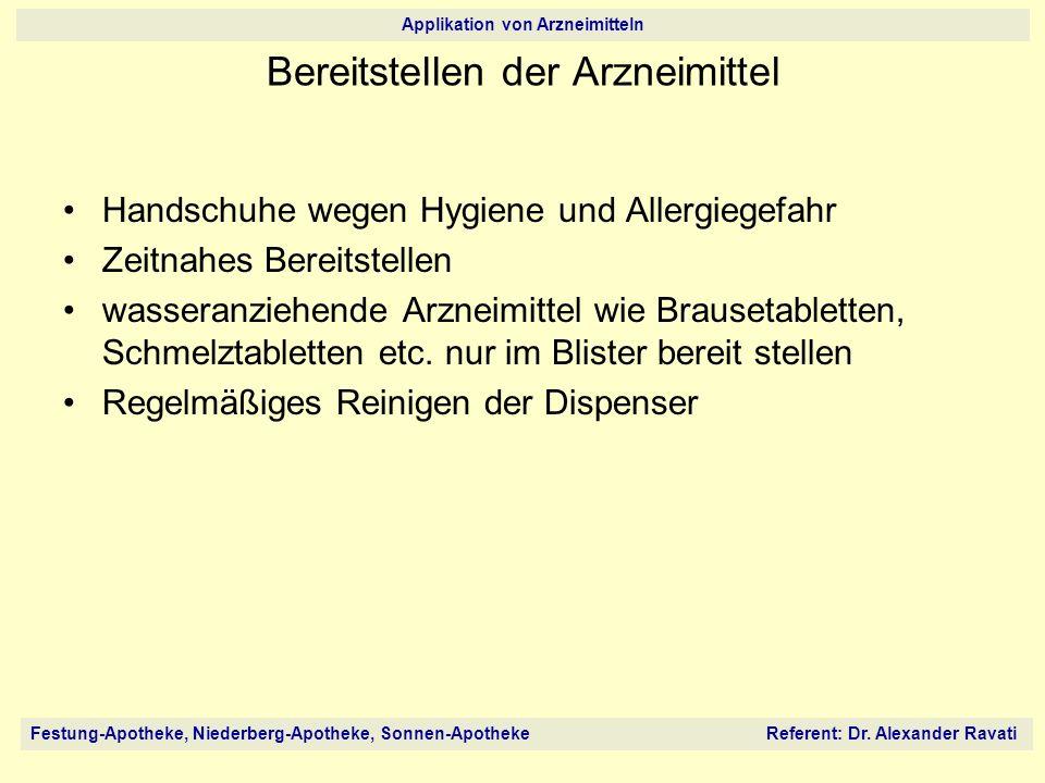 Festung-Apotheke, Niederberg-Apotheke, Sonnen-Apotheke Referent: Dr. Alexander Ravati Applikation von Arzneimitteln Bereitstellen der Arzneimittel Han