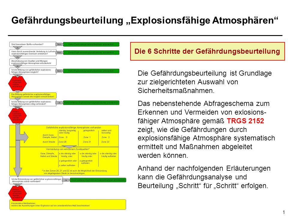 Gefährdungsbeurteilung Explosionsfähige Atmosphären 1 Die Gefährdungsbeurteilung ist Grundlage zur zielgerichteten Auswahl von Sicherheitsmaßnahmen.