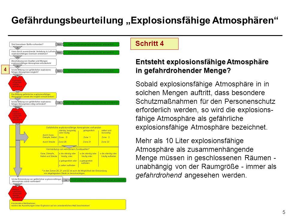Gefährdungsbeurteilung Explosionsfähige Atmosphären 5 Schritt 4 Entsteht explosionsfähige Atmosphäre in gefahrdrohender Menge? Sobald explosionsfähige
