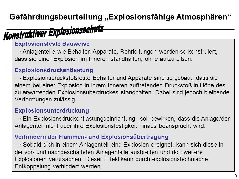 Gefährdungsbeurteilung Explosionsfähige Atmosphären 9 Explosionsfeste Bauweise Anlagenteile wie Behälter, Apparate, Rohrleitungen werden so konstruiert, dass sie einer Explosion im Inneren standhalten, ohne aufzureißen.