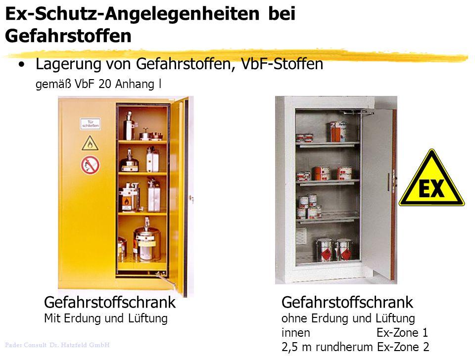 Pader Consult Dr. Hatzfeld GmbH Ex-Schutz-Angelegenheiten bei Gefahrstoffen Lagerung von Gefahrstoffen, VbF-Stoffen gemäß VbF 20 Anhang l Gefahrstoffs