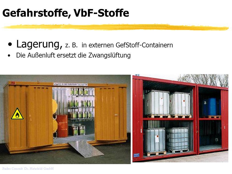 Pader Consult Dr. Hatzfeld GmbH Gefahrstoffe, VbF-Stoffe Lagerung, z. B. in externen GefStoff-Containern Die Außenluft ersetzt die Zwangslüftung
