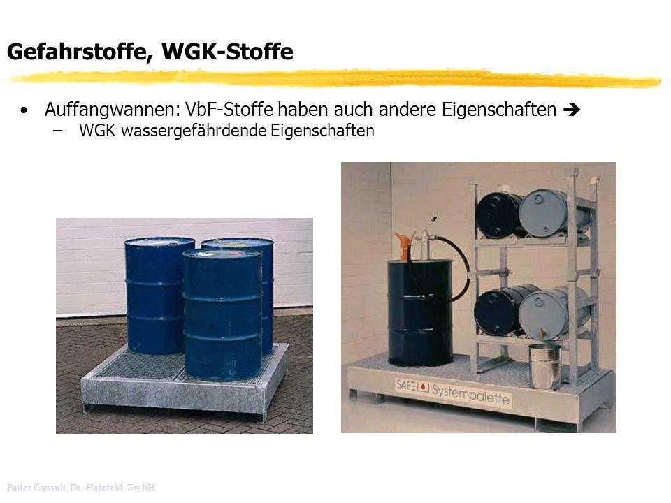 Pader Consult Dr. Hatzfeld GmbH Gefahrstoffe, WGK-Stoffe Auffangwannen: VbF-Stoffe haben auch andere Eigenschaften – WGK wassergefährdende Eigenschaft