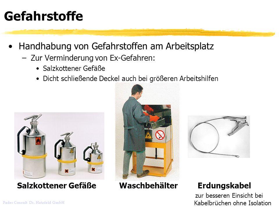 Pader Consult Dr. Hatzfeld GmbH Gefahrstoffe Handhabung von Gefahrstoffen am Arbeitsplatz –Zur Verminderung von Ex-Gefahren: Salzkottener Gefäße Dicht