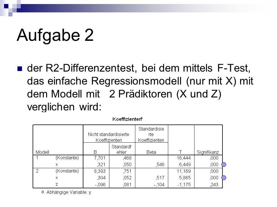 Aufgabe 2 der R2-Differenzentest, bei dem mittels F-Test, das einfache Regressionsmodell (nur mit X) mit dem Modell mit 2 Prädiktoren (X und Z) verglichen wird: