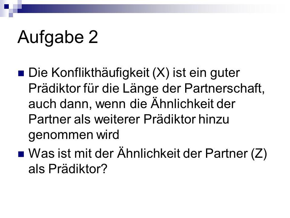 Aufgabe 2 Die Konflikthäufigkeit (X) ist ein guter Prädiktor für die Länge der Partnerschaft, auch dann, wenn die Ähnlichkeit der Partner als weiterer Prädiktor hinzu genommen wird Was ist mit der Ähnlichkeit der Partner (Z) als Prädiktor?