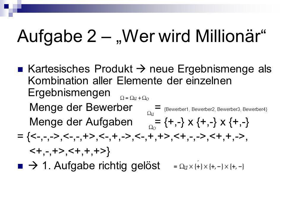 Aufgabe 2 – Wer wird Millionär Kartesisches Produkt neue Ergebnismenge als Kombination aller Elemente der einzelnen Ergebnismengen Menge der Bewerber = {Bewerber1, Bewerber2, Bewerber3, Bewerber4} Menge der Aufgaben = {+,-} x {+,-} x {+,-} = {,,,,,,, } 1.