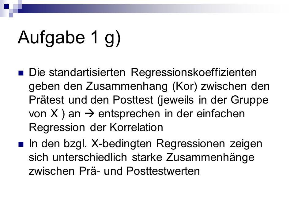 Die standartisierten Regressionskoeffizienten geben den Zusammenhang (Kor) zwischen den Prätest und den Posttest (jeweils in der Gruppe von X ) an ent