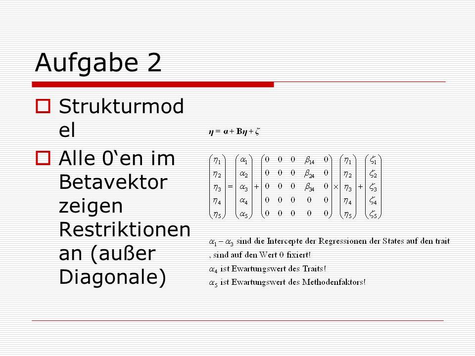 Aufgabe 2 Strukturmod el Alle 0en im Betavektor zeigen Restriktionen an (außer Diagonale)