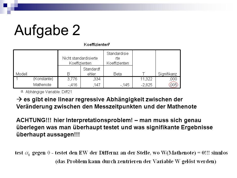 Aufgabe 2 es gibt eine linear regressive Abhängigkeit zwischen der Veränderung zwischen den Messzeitpunkten und der Mathenote ACHTUNG!!! hier Interpre