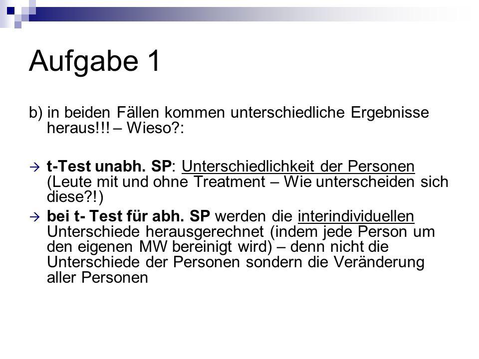 Aufgabe 1 b) in beiden Fällen kommen unterschiedliche Ergebnisse heraus!!! – Wieso?: t-Test unabh. SP: Unterschiedlichkeit der Personen (Leute mit und