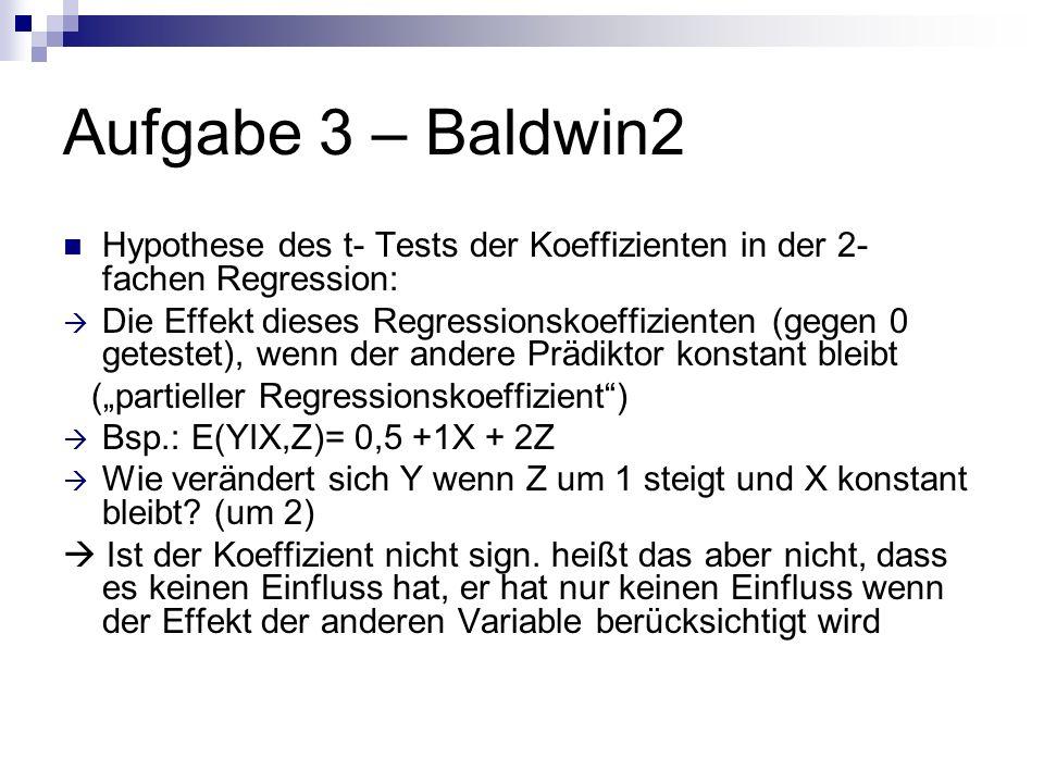 Aufgabe 3 – Baldwin2 Hypothese des t- Tests der Koeffizienten in der 2- fachen Regression: Die Effekt dieses Regressionskoeffizienten (gegen 0 getestet), wenn der andere Prädiktor konstant bleibt (partieller Regressionskoeffizient) Bsp.: E(YIX,Z)= 0,5 +1X + 2Z Wie verändert sich Y wenn Z um 1 steigt und X konstant bleibt.