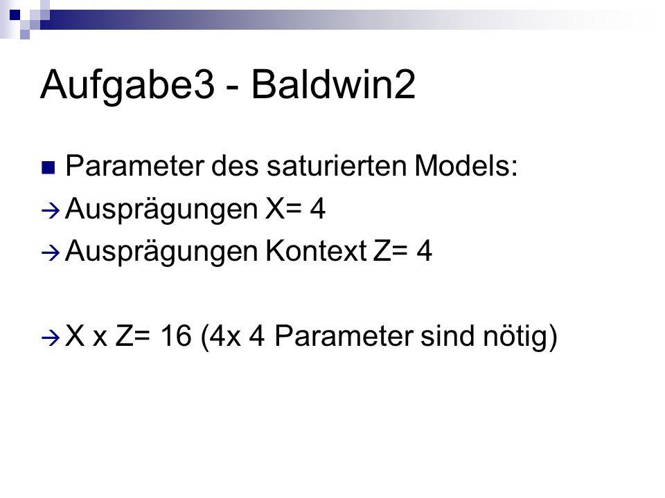 Aufgabe3 - Baldwin2 Parameter des saturierten Models: Ausprägungen X= 4 Ausprägungen Kontext Z= 4 X x Z= 16 (4x 4 Parameter sind nötig)